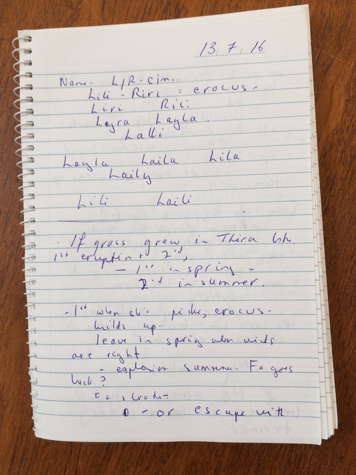 Don't forget your writer's notebook.